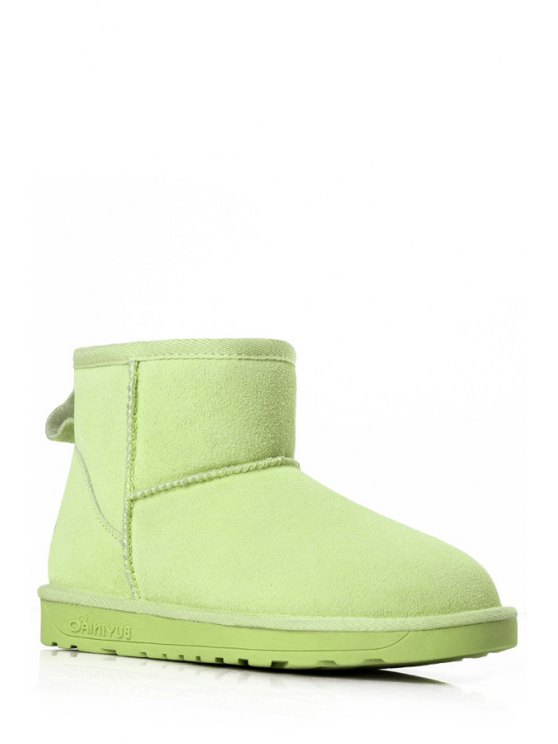 unique Pure Color Round Toe Suede Snow Boots - GRASS GREEN 35