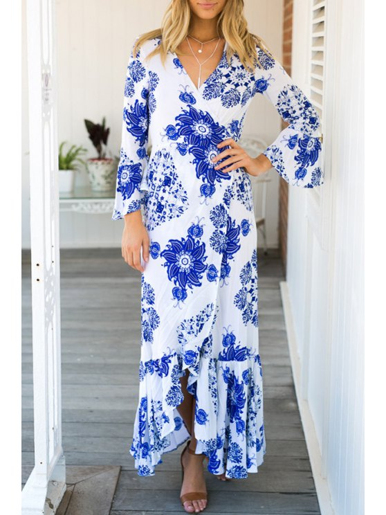 fancy Blue and White Porcelain Maxi Dress - BLUE AND WHITE S