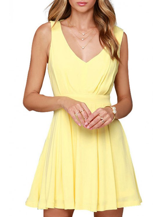 latest Backless Solid Color Plunging Neck Sleeveless Dress - YELLOW XS