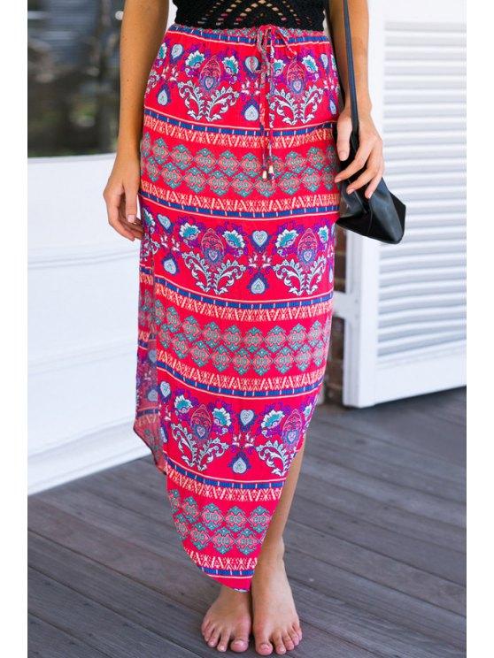 ladies Ethnic Print Irregular Hem Long Skirt - ROSE S