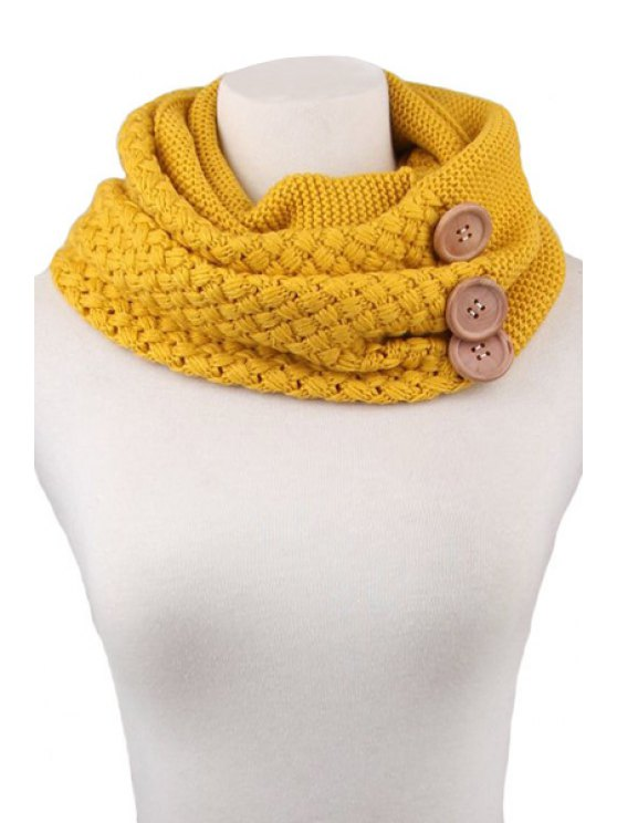 chic Button Knitted Neck Warmer - YELLOW
