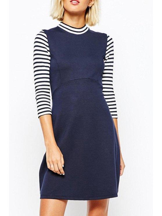 womens Stripe Spliced Stand Neck 3/4 Sleeve Dress - NAVY BLUE S