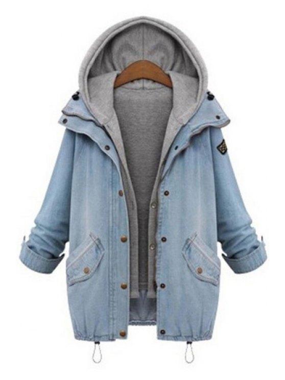 shop Hooded Drawstring Boyfriend Trends Pockets Jean Coat - LIGHT BLUE M