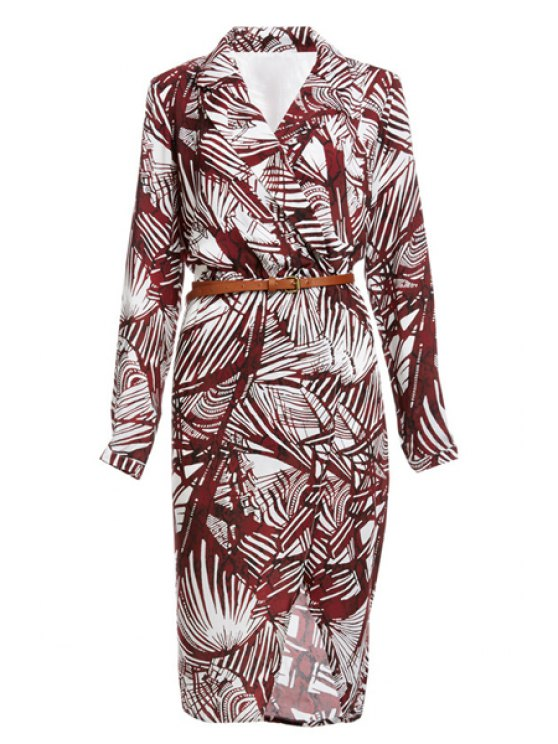 lady Tropical Print V Neck Long Sleeve Dress - DARK RED S