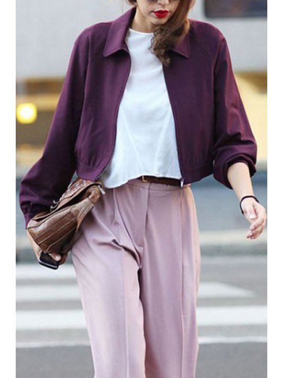best Long Sleeve Zip-Up Cropped Jacket - WINE RED S