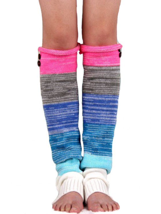 shop Button Mixed Color Knitted Leg Warmers - ROSE