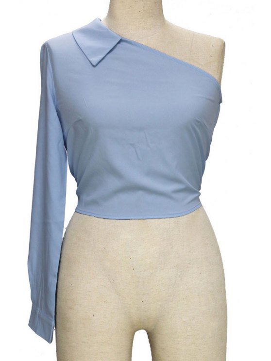women One-Shoulder One-Sleeve Blouse - LIGHT BLUE M