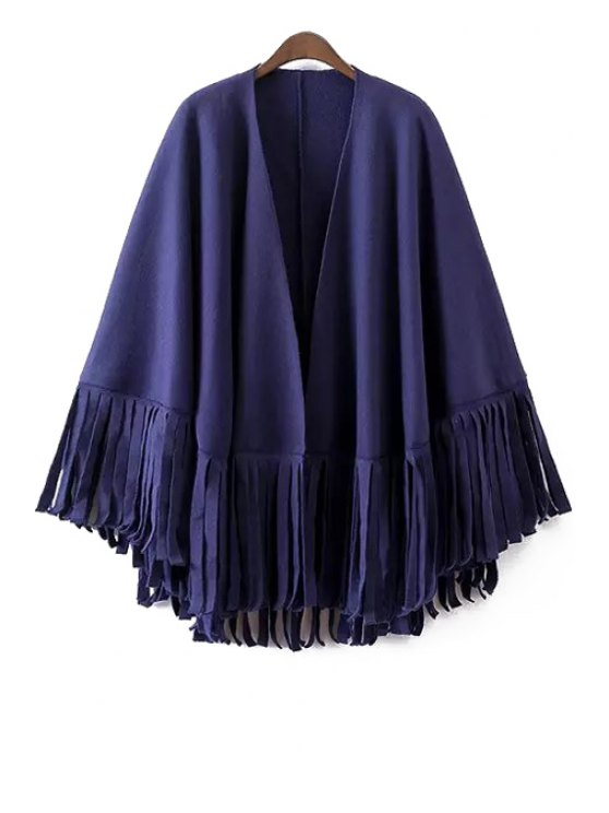 chic Solid Color Tassels Batwing Sleeves Cape Coat - BLUE ONE SIZE(FIT SIZE XS TO M)