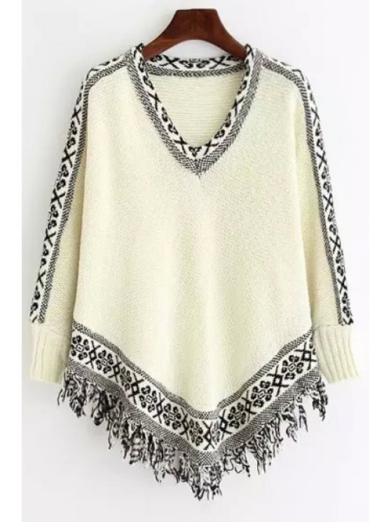 best Geometric Pattern Fringes V-Neck Long Sleeves Sweater - WHITE ONE SIZE(FIT SIZE XS TO M)