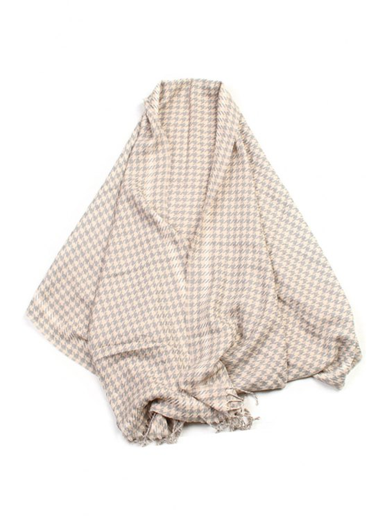 shop Houndstooth Pattern Tassel Winter Scarf - GRAY