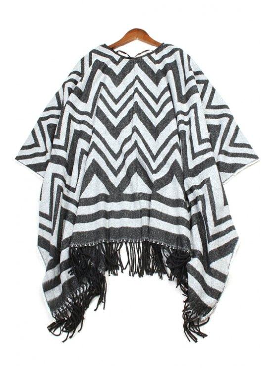 womens Wavy Stripe Pattern Tassel Pashmina - BLACK