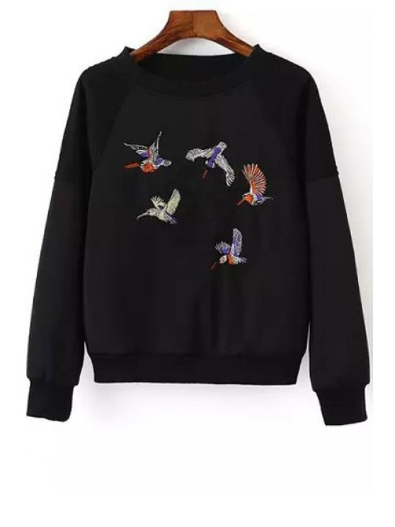 latest Bird Embroidered Long Sleeve Sweatshirt - BLACK S