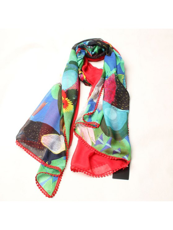 trendy Parrot Pattern Lace Edge Gauze Scarf - AS THE PICTURE