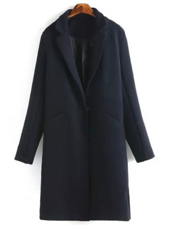 lady Cadetblue Lapel Long Sleeve Worsted Coat - CADETBLUE S