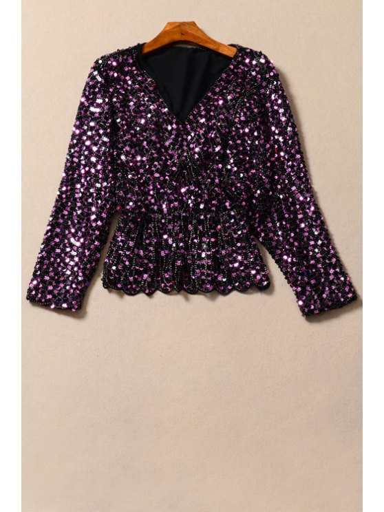 hot Long Sleeve Sequined Fall Top - PURPLE S