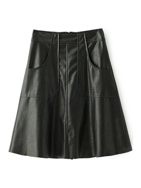 unique PU Leather Thicken All Match Solid Color Winter Skirt - BLACK S