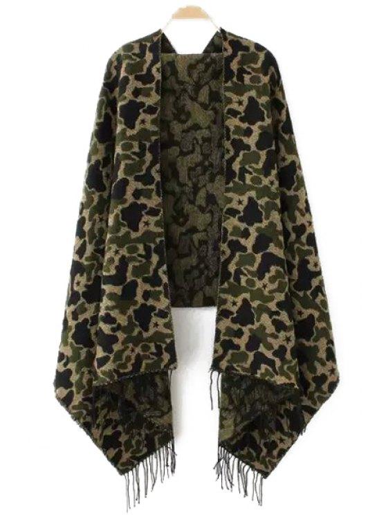 chic Camouflage Pattern Tassel Winter Pashmina - GREEN