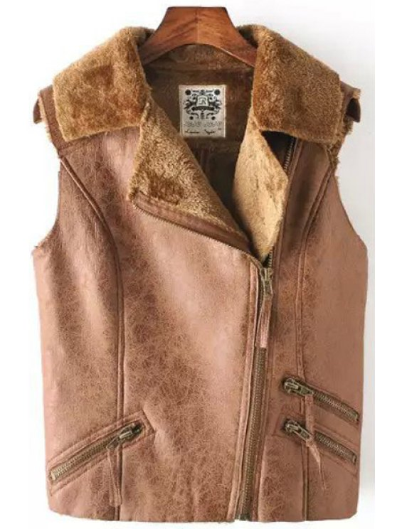 fashion Faux Suede Lapel Sleeveless Waistcoat - KHAKI S