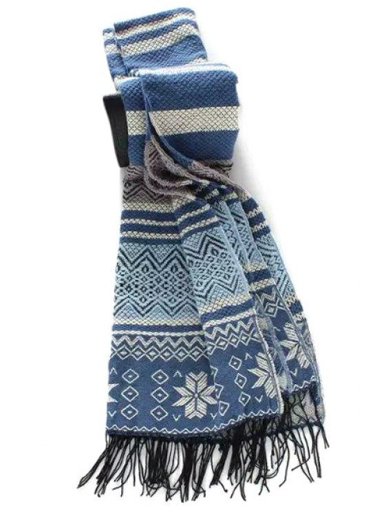 affordable Snowflake Pattern Tassel Winter Scarf - PURPLISH BLUE