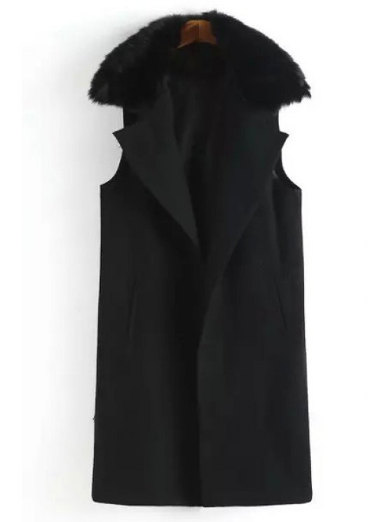 sale Faux Fur Spliced Lapel Sleeveless Waistcoat - BLACK S