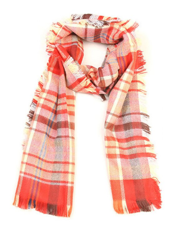 women's Plaid Pattern Fringed Winter Scarf - RED
