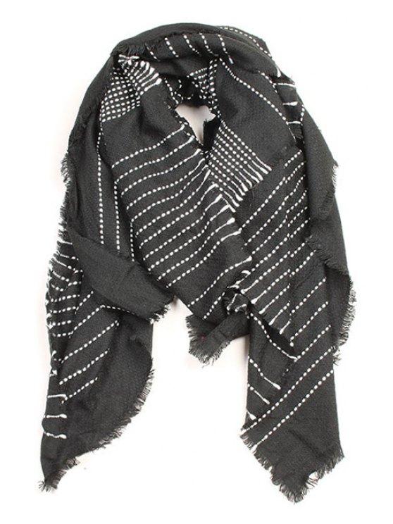 shops Stripe Pattern Fringed Edge Winter Scarf - BLACK