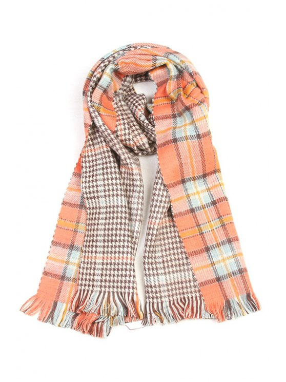sale Houndstooth and Plaid Pattern Tassel Scarf - AS THE PICTURE