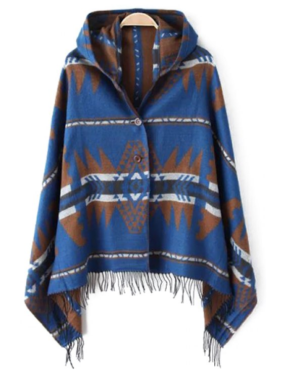 affordable Geometric Pattern Tassel Hooded Pashmina - AS THE PICTURE