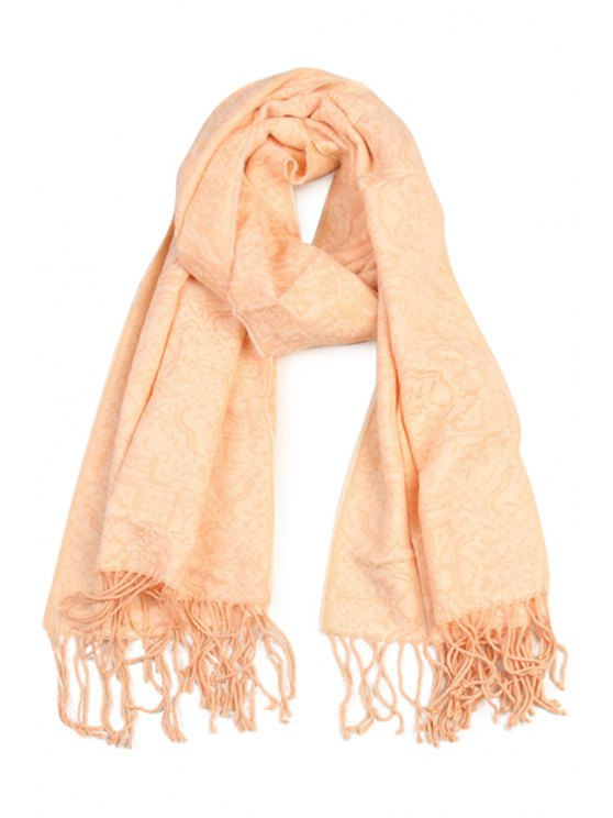 women Ethnic Jacquard Tassel Scarf - AS THE PICTURE