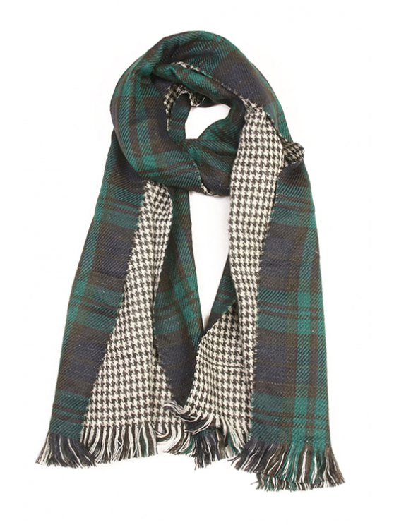 women's Houndstooth and Tartan Pattern Tassel Scarf - GREEN
