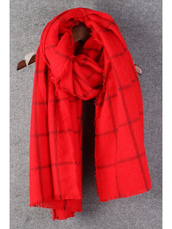 ladies Gingham Pattern Fringed Winter Scarf - RED
