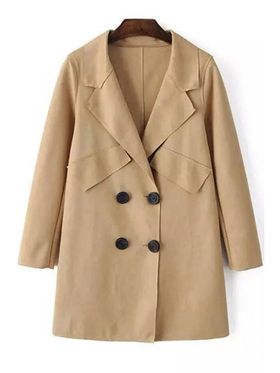 shops Pure Color Lapel Neck Long Sleeves Coat - LIGHT KHAKI S