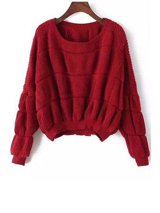 sale Long Sleeves Pure Color Pullover Sweater - WINE RED ONE SIZE(FIT SIZE XS TO M)