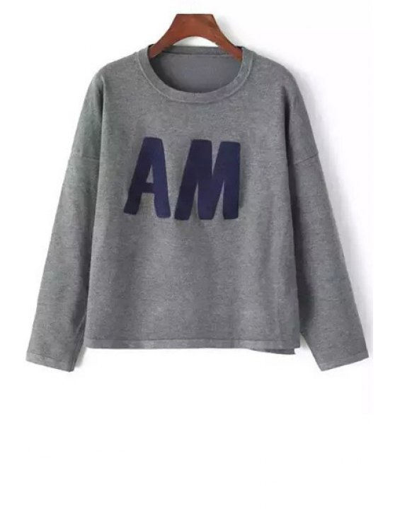 shop Letters Pattern Long Sleeve Jumper - GRAY ONE SIZE(FIT SIZE XS TO M)