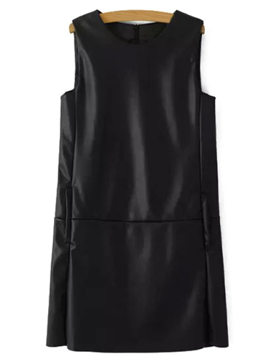shop Sleeveless Black Faux Leather Dress - BLACK S