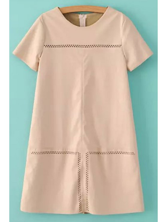 trendy Short Sleeve Openwork Faux Leather Dress - PINK S