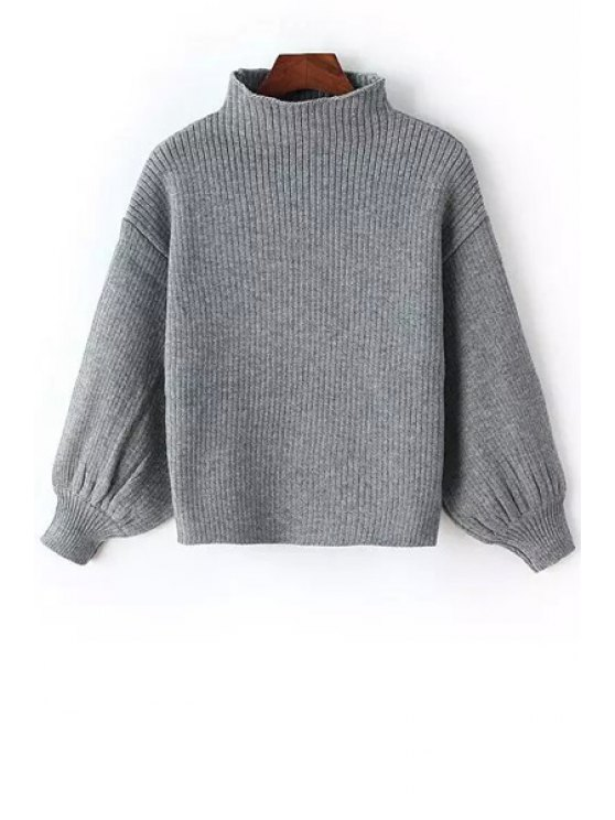 chic Solid Color Stand Neck Long Sleeve Jumper - GRAY ONE SIZE(FIT SIZE XS TO M)