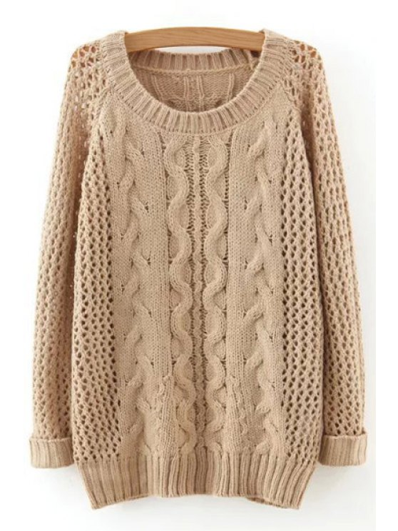 fashion Hollow Out Twist Braided Solid Color Sweater - APRICOT ONE SIZE(FIT SIZE XS TO M)