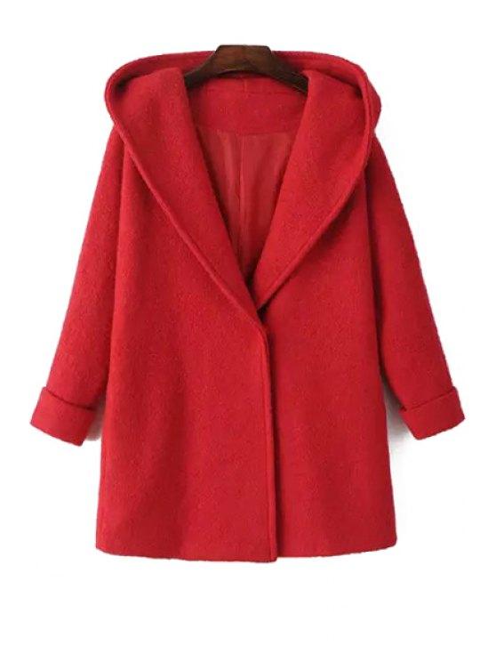 buy Hooded Long Sleeve Red Wool Coat - RED S