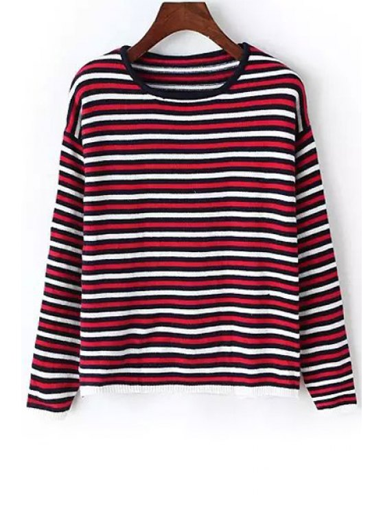 outfits Striped Jewel Neck Long Sleeve Jumper - RED WITH WHITE ONE SIZE(FIT SIZE XS TO M)