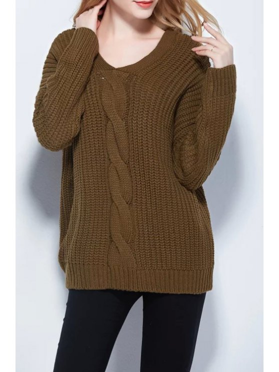 affordable Back Button Solid Color V-Neck Twist Braided Sweater - ARMY GREEN M