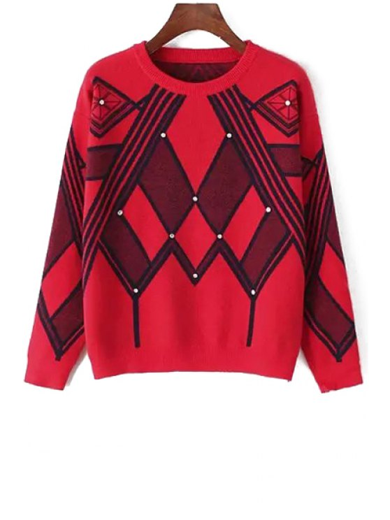 lady Long Sleeve Geometric Pattern Jacquard Sweater - RED ONE SIZE(FIT SIZE XS TO M)