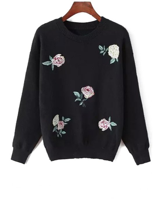 new Round Neck Floral Pattern Sweater - BLACK ONE SIZE(FIT SIZE XS TO M)