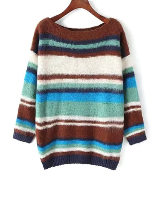 trendy Slash Neck Color Block Sweater - COFFEE ONE SIZE(FIT SIZE XS TO M)