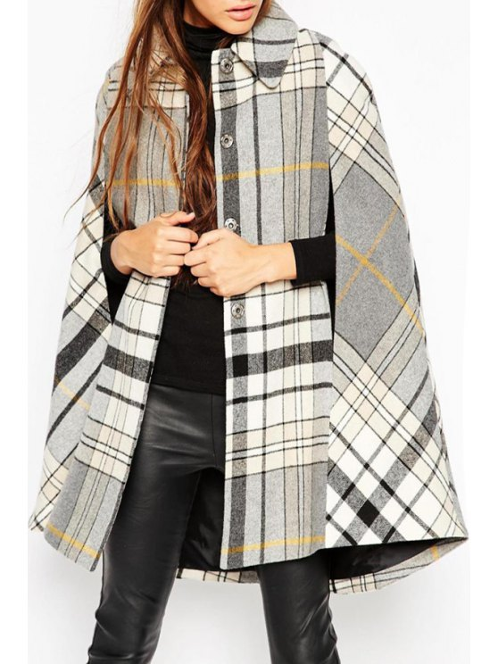 new Heritage Check Cape Coat - WHITE AND BLACK ONE SIZE(FIT SIZE XS TO M)