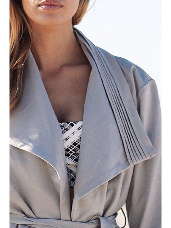 Light Gray Turn Down Collar Trench Coat - LIGHT GRAY L Mobile