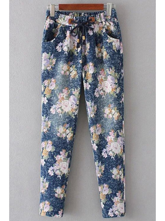 women Floral Print Denim Women's Pockets Pants - PINK S