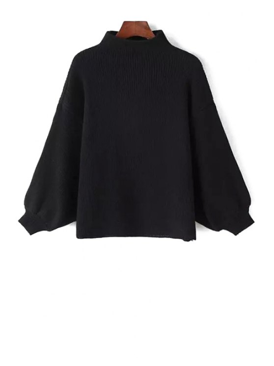 women's Stand Neck Puff Sleeve Sweater - BLACK ONE SIZE(FIT SIZE XS TO M)