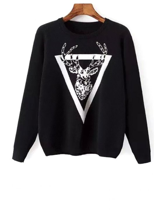 sale Round Collar Cartoon Animal Print Sweater - BLACK ONE SIZE(FIT SIZE XS TO M)