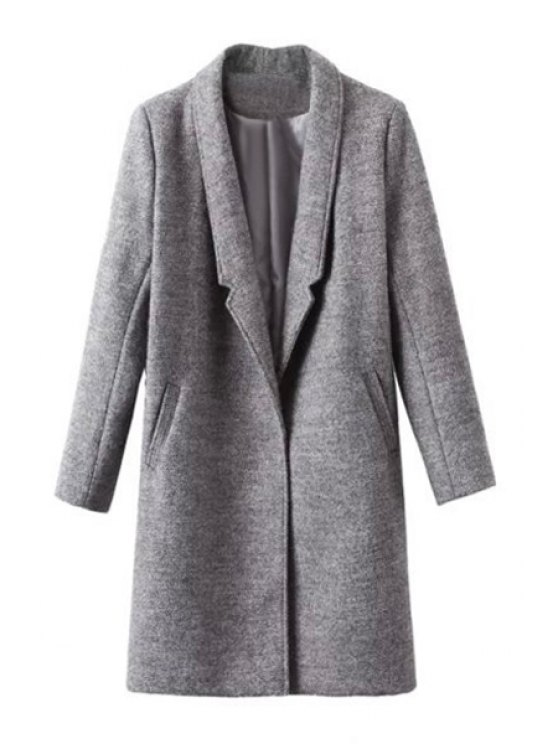 outfits Pockets Solid Color Lapel Collar Long Sleeves Coat - GRAY S